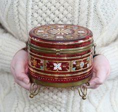 Antique Bohemian Moser Cranberry Enameled Art Glass Trinket Box Hinged Lid Jar   eBay