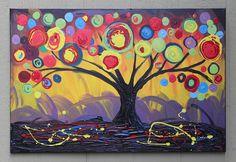 Original modern tree painting acrylic on by DanlyesPaintings