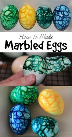 Step by Step instuctions on how to make Marbled Easter Eggs. These are a perfect and easy craft idea for Easter. The Marbled Boiled Eggs are fun and edible. craft edible Marbled Easter Eggs-How To Make Marbled Easter Eggs Easter Egg Dye, Coloring Easter Eggs, Easter Party, Easter Deviled Eggs, Easter Table, Halloween Deviled Eggs, Egg Coloring, Making Easter Eggs, Food Coloring Crafts