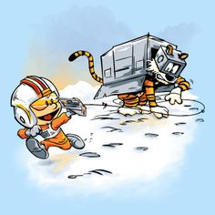Star Wars / Calvin and Hobbes: Rebel snowspeeder pilot Calvin, and Empire AT-AT Walker Hobbes t-shirt.