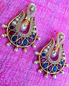 Colour Stones With Lovely Pearl Work Antique Golden Indian Adiva Earring