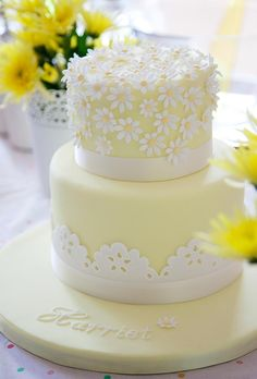 spring yellow christening cake by S K Cakes www.s-k-cakes.co.uk