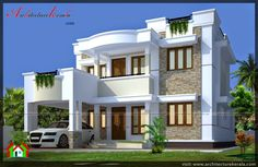 2000 square feet house plan and elevation Kerala building type house plan , greenlife engineering solution palakad Bungalow House Design, House Front Design, House Design Photos, Modern House Design, 30x40 House Plans, Four Bedroom House Plans, Flat Roof House, Facade House, House Architecture Styles
