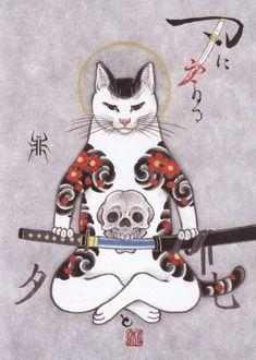 Kazuaki Horitomo Kitamura combines his love of art with his love of cats. Tattoo Gato, Cat Tattoo, Image Chat, Japanese Cat, Japanese American, Art Asiatique, Japanese Tattoo Art, Asian Tattoos, Japan Tattoo