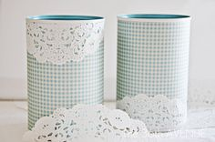 Bathroom Containers -- seal with Poly or waterproof spray paint like Lacquer. Holy Doily! | via: The 36th AVENUE