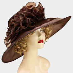 Looking for your perfect hat for a Kentucky Derby party? Ginga's Galleria has tons to choose from, including this brown wide brim organza hat! Shop now