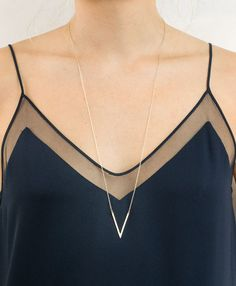 Badass Long V Necklace Pointed Long Necklace by LayeredAndLong