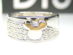 AUTH DISNEY MICKEY MOUSE CZ STERLING PLATINUM 8MM WIDE BAND RING