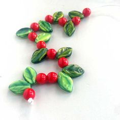 Are you ready? Berry Red Round Green Holly Leaf Beads Czech Glass Two by msbijouxbeads