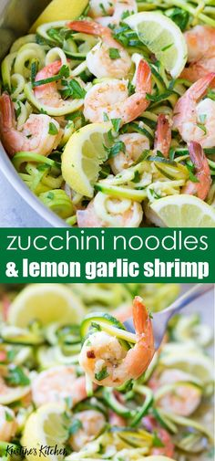 Lemon Garlic Shrimp and Zucchini Noodles are a 20 minute meal that's gluten free and full of fresh flavors. How to cook zucchini noodles in a skillet. This healthy dinner recipe is made in one pot! Cook Zucchini Noodles, How To Cook Zucchini, Zucchini Pasta, Healthy Cooking, Healthy Eating, Cooking Recipes, Cooking Ideas, Easy Cooking, Lemon Garlic Shrimp