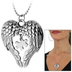Wings of an Angel Autism Awareness Necklace