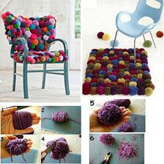 How to upgrade your chair with pom pom cushion step by step DIY tutorial instructions, How to, how to do, diy instructions, crafts, do it yourself, diy website, art project ideas
