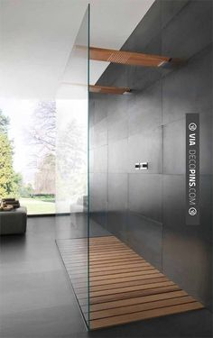 So awesome! - Minimalist shower. Trendir wood shower | CHECK OUT MORE IDEAS FOR SHOWERS AT DECOPINS.COM | #showers #masterbathrooms #bedroom #bedrooms #bathroom #bathrooms #homedecor #beds #interiordesign #home #homedecoration #design
