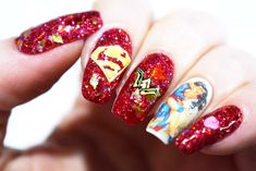 Some nerdy nails featuring and kissing. Superman Nails, Wonder Woman Nails, Best Couple, Love Nails, You Nailed It, Nail Art Designs, Our Wedding, Valentines Day, Geek Stuff