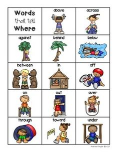 Positional Words Set: Includes a single-page chart and 2 sets of posters. #prepositions #positionalwords $