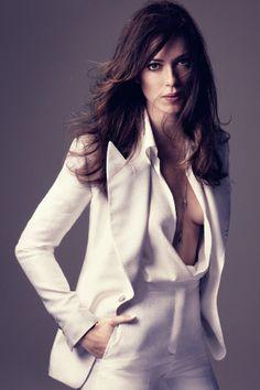 White jacket/tuxedo. ♥ follow more high quality Jourdan Dunn content at pinterest.com/shop4fashion/hottest-of-the-honey-pot