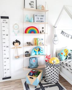 Kids bedroom decor | rainbow stacking toy | kids height chart | toddler room ideas