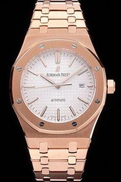 Swiss AP Royal Oak 18K Rose Gold Case&Bracelet White Tapisserie Dial Stick Scale Men Auto Watch 15400OR.OO.1220OR.02