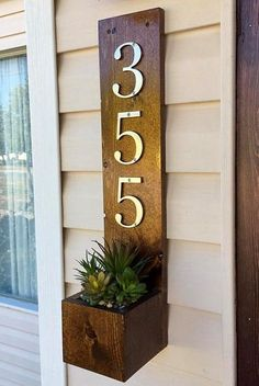 I love this rustic box and address sign with the small flower planter. Great idea. #commissionlink #rustic #addressbox #addresssign #flowerpot #addressplaque #homedecor