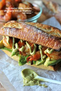 Spicy Roasted Shrimp Sandwich with Chipotle Avocado Mayonnaise- not a big shrimp person but this looks good! at least the guac stuff :)
