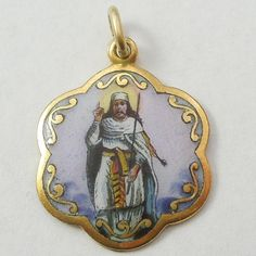Religious Medal / Charm / Pendant - Rolled Gold with Porcelain Enamel - Rodi and Wienenberger