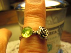 Vintage Artisan Genuine 2.33ctw Peridot & Rose Sterling Silver Twisted Wire Ring Size 7.5, Weight 3 Grams