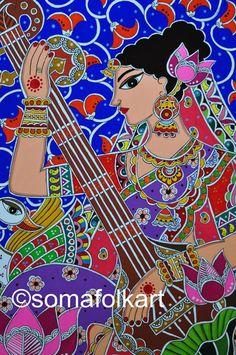 Your place to buy and sell all things handmade Madhubani Art, Madhubani Painting, Glass Painting Patterns, Fabric Painting, Bright Colors Art, Indian Wall Decor, Saraswati Goddess, Original Art, Original Paintings