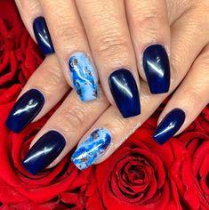 50 Likes, 1 Comments - Lashes & Nails Purple Toe Nails, Dark Blue Nails, Bright Red Nails, Navy Nails, Gold Nails, Acrylic Nails Almond Short, Black Acrylic Nails, Blue Nail Designs, Acrylic Nail Designs