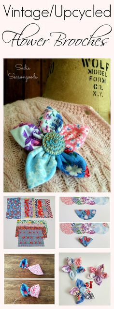 Looking for a sweet accessory for your Spring wardrobe? DIY flower brooches from your craft stash- vintage fabric and old shank buttons- are paired together in these easy, low-sew pins that are perfect for light sweaters and jackets. Everything is blooming! #SadieSeasongoods / www.sadieseasongoods.com