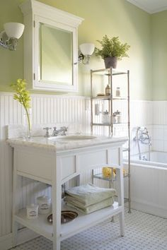 nantucket style bathroom white and green