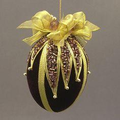 """Plum Purple Velvet Egg Victorian Inspired Christmas Ornament - Handmade with Cut Glass Bugle Bead """"Glitter"""""""