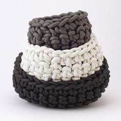 Neo baskets, Italy. Made of neoprene rope.