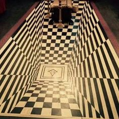 """This picture was taken from the Worshipful Master's chair at Weymouth Masonic Hall. John Pearce, Secretary of All Souls tells us. """"The Lodge was redecorated in 1967 in preparation for the Bi-Centenary Celebrations. Masonic Art, Masonic Temple, Masonic Lodge, Masonic Symbols, Temples, Rose Croix, Ancient Mysteries, Freemasonry, Knights Templar"""