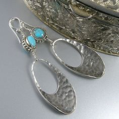 Sterling silver disc turquoise earrings.  BUY NOW http://jewelrybytali.com/products/turquoise-silver-disc-earrings-turquoise-earrings-silver-earrings