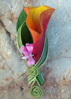 A mango mini calla lily is accented with a single sweet william bloom created this beautiful boutonnière! The orange and pale pink blooms created a fun accent for the fun wedding this was a part of and perfect for spring or summer.