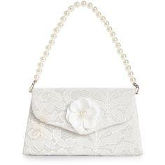 Monsoon Lucy Lace Mini Bag ($14) ❤ liked on Polyvore featuring bags, handbags, lace handbag, white purse, beaded evening bag, mini handbags and flower handbag