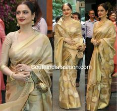 rekha in gold kanjeevaram saree