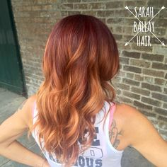 Red ombré melting into copper with balayage blonde
