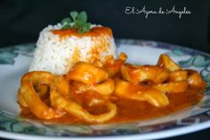 Receta del día: anillas de calamar guisadas Mexican Food Recipes, Diet Recipes, Ethnic Recipes, Tapas, Calamari, Spanish Food, Churros, Flan, Seafood
