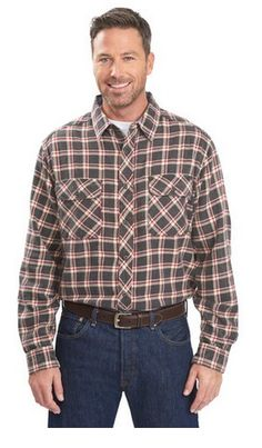 Our Miners Wash Flannel Shirt will feel like an old favorite from day one. Its rugged, vintage-inspired styling is perfect for work or play with bias-cut chest pockets with button closures, spread collar with a chambray comfort collar band, and a bias-cut back yoke. Made of 100% cotton flannel twill that's been acid-washed for a broken-in look and feel. Color: Coal Check Style #6114