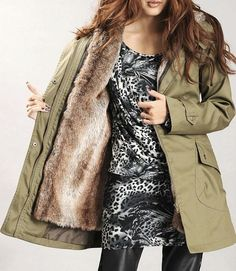 Faux fur warm coat winter coat green coat hoodie by Fashiondress1, $99.99