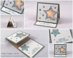 Dezember 13, 2014 Fine Paper Arts: Lichterkarte Sterne Stampin' Up! Bright & Beautiful, Stars Framelits dies