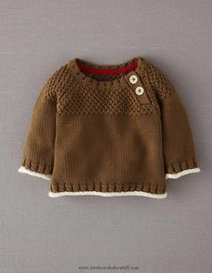 Baby Knitting Patterns Mini Boden Textured Jumper.  Love the contrast inside neckli...