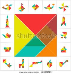 Collection of printable tangram solution cards. 16 objects and a square made of tiling tangram pieces, geometric shapes. Learning game for kids, ancient Chinese puzzle. Learning Games For Kids, Board Games For Kids, Kids Board, Tangram Puzzles, Shapes For Kids, Logic Games, Busy Book, Easy Quilts, Kids Education
