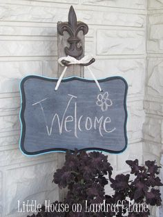 Front Door Sign.  I plan to paint a small space of my front door with chalkboard paint using this frame design.  It will be fun to write seasonal messages.