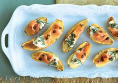 25 One-Bite Appetizers Slideshow  From elegant Cumin-Roasted Potatoes with Caviar to savory Pancetta Crisps with Goat Cheese and Pear, these party-perfect hors d'oeuvres are sure to please