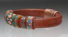 Regaliz Leather Miyuki Delica seed bead Wrap Bracelet Handmade Argyle