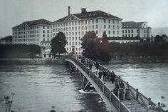 Spinnerei Kunz Unterwindisch um 1900. Foto ab öffentlicher Informationstafel. WS 2009.