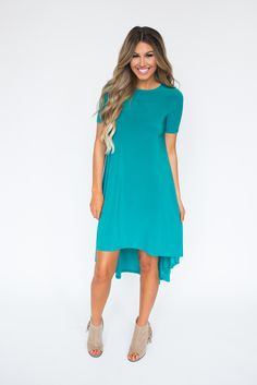 Teal High Low Dress - Dottie Couture Boutique