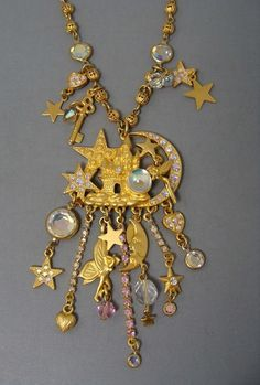 Kirks Folly Moon Star Fairy Castle Crystal Ball Dangles Necklace - Hard to Find